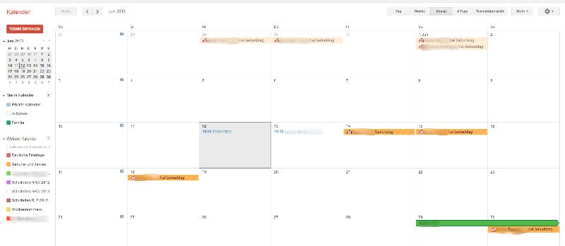 Übersicht des Google Kalenders